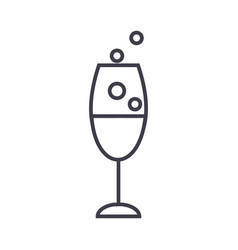 wine glass line icon sign on vector image