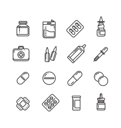 Pills drugs pharmacy medicine medication line vector