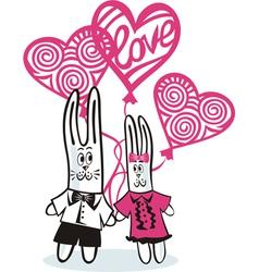Bunny love balloons vector image