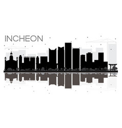 Incheon city skyline black and white silhouette vector