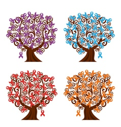 Four tree with ribbons vector