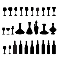 glasses and bottles of wine 2 vector image