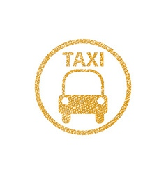 Taxi sign icon with hand drawn lines texture vector
