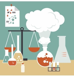 Desktop scientist chemist vector