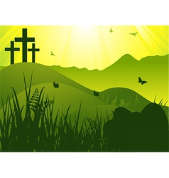 Easter serene background with crosses and eggs vector image