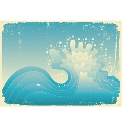 Ve vintage vector illustration of sea with g vector