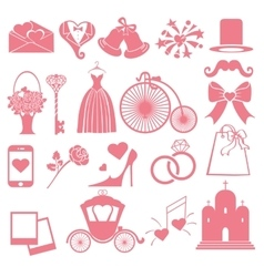 Wedding flat icons set for Web and Mobile vector image