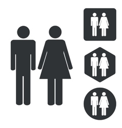 Man woman icon set monochrome vector
