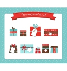 Christmas and new year present box set vector