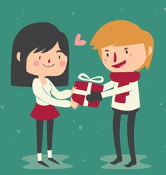 Cute couple trading gifts vector