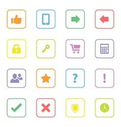 colorful web icon set 2 rounded rectangle frame vector image