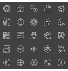 Air travel or airport line icons vector image