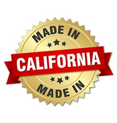 Made in california gold badge with red ribbon vector