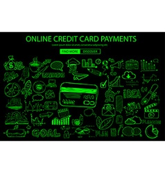 Online credit card payment concept with doodle vector