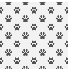 Animal black paw footprint pattern vector