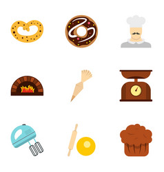 Bakery process icons set flat style vector