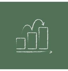 Bar chart upward icon drawn in chalk vector image vector image