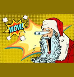 Bulging eyes hyper reaction to santa claus vector