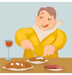 Cartoon fat man eat grilled meat sausage character vector