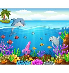 Cartoon fish under the sea vector