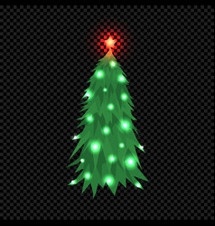 christmas tree isolated on dark transparent vector image vector image