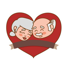 Couple elder heart banner vector