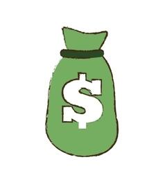 Drawing green bag money dollar cash vector