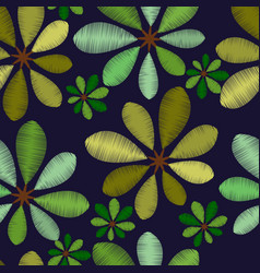 embroidery foliage seamless pattern with green vector image vector image