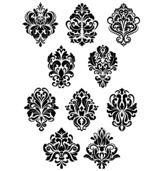 Foliate arabesque design elements vector