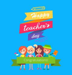 Happy teachers day promo vector