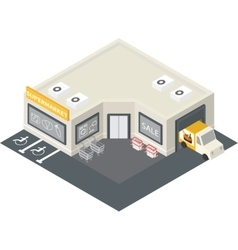 isometric supermarket building icon vector image