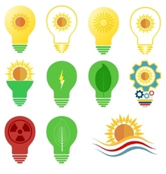 Logo and icons set energy and sun power vector