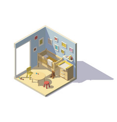 low poly baby room vector image vector image