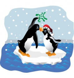 penguin kiss vector image vector image
