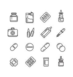 Pills drugs pharmacy medicine medication line vector image vector image