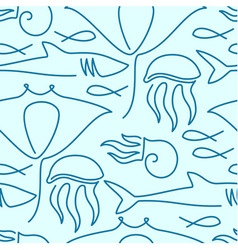 Seamless pattern made of sea fauna vector