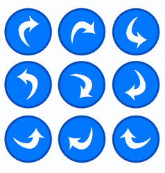set - arrows in blue circles vector image vector image