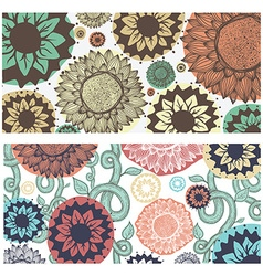 Set of colorful floral pattern Flowers branches vector image