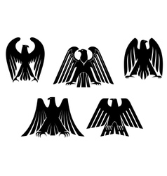 Silhouettes of eagles vector image vector image