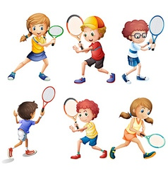 Tennis actions vector image