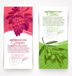 Vertical banners with hand drawn foogs vector