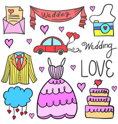 Wedding party doodles vector