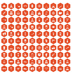 100 beard icons hexagon orange vector