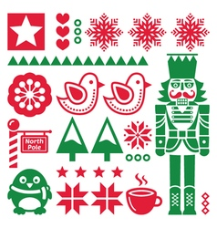 Christmas red and pattern with nutcracker - folk vector image