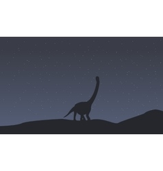 Silhouette of argentinosaurus scenery collection vector