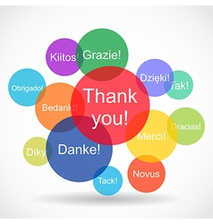 Thank you messages in different languages vector