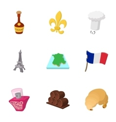 Tourism in france icons set cartoon style vector