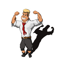 Man in a business suit shows biceps vector