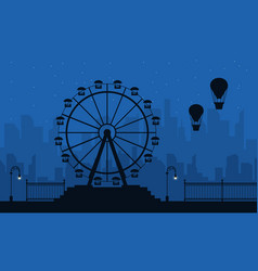 Amusement park scenery at night silhouettes vector