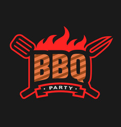barbecue party logo emblem vector image